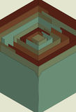 Stylized 3D maze. Main element is grouped together on same layer. Background fill is on separate layer stock illustration