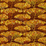 Stylized abstract autumn tree illustration. Wallpaper seamless pattern. Ecology and garden theme Royalty Free Stock Photo