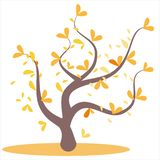 Stylized abstract autumn tree. Leaves on the branches, orange tree. Yellow and orange leaves on the tree, leaves on the branches, stock illustration