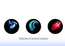 Stylized abstract icons. Blue  color, simple shape. Abstract symbols for your design Royalty Free Stock Photography