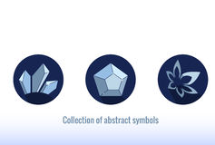 Stylized abstract icons. Blue  color, simple shape. Stock Images