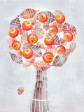 Stylized abstract tree with apple fruits isolated on gray. Stock Photography