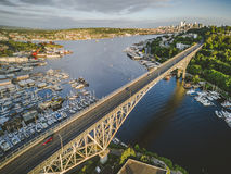 Stylized Aerial View of Seattle Bridge on Sunny Summer Day royalty free stock photography