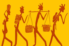 Stylized African figure. Stylized figures of African family on textile royalty free illustration