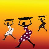 Stylized African people. Stylized African women holding food Stock Images