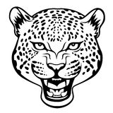 Leopard head. Stylized agressive leopard head  black illustration Stock Image
