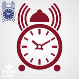 Stylized alarm clock vector 3d illustration with podcast sign, c Stock Photography