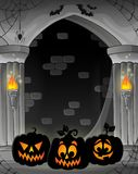 Stylized alcove with pumpkin silhouettes Stock Photos