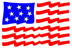 Stylized American Flag. With large stars and a deep blue background and giant stripes of red and white Royalty Free Stock Image