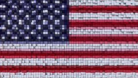 Stylized mosaic American flag made of pixels, 3D rendering. Stylized American flag made of pixels Royalty Free Stock Photos