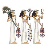 Stylized ancient culture background.Murals with ancient egypt scene Stock Image