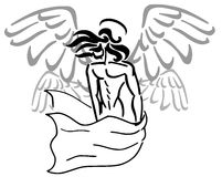 Stylized Angel. Image representing an angel with four wings, usable for tattoos Stock Photos