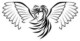 Stylized Angel in black isolated Stock Image