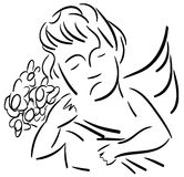 Stylized Angel with flowers isolated Stock Image