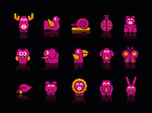 Stylized Animals // Black Background Royalty Free Stock Photos