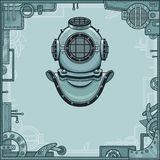 The stylized animation helmet of an ancient diving armor. A background - a frame from iron details, the steel mechanism. Stock Images