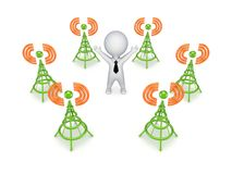 Stylized antennas around 3d small person. Royalty Free Stock Photography