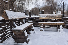 Stylized antique benches in the park Royalty Free Stock Photo