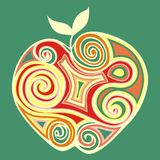 Stylized apple. Decorated with swirls Royalty Free Stock Image