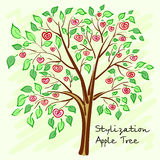 Stylized apple tree with lonely mysterious fruits. Vector Royalty Free Stock Image