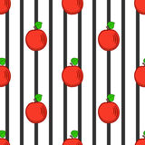 Stylized apples and black strips, seamless pattern. Vector royalty free illustration
