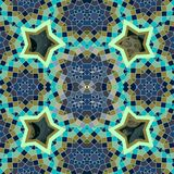 Stylized Arab Emirates seamless pattern with figures of sacred geometry and cosmic stars, planets and moon in green and dark blue. Tones. Vector illustration royalty free illustration