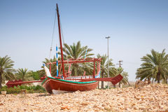 Stylized Arabic wooden ship. Monument in Saudi Arabi Stock Photography