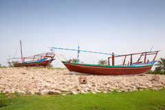 Stylized Arabic wooden ships. Monument in Ras Tanura, Saudi Arabia Royalty Free Stock Photos