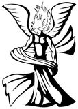 Stylized artistic Angel in black isolated. Image representing an angel with drape Royalty Free Stock Photography