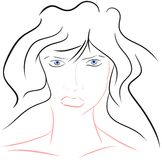 Stylized artistic woman face isolated Royalty Free Stock Photos