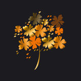 Stylized autumn floral tree vector illustration. Royalty Free Stock Image