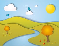 Stylized autumn landscape. With trees, clouds, birds, butterflies, flowers and mountains Stock Photography