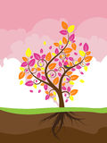 Stylized Autumn Tree. Abstract stylized tree with colorful leaves for season of autumn Stock Photo