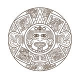 Stylized Aztec Calendar. In gold color, vector illustration Stock Photos