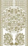 Stylized Aztec Calendar. In gold color, vector illustration Royalty Free Stock Images