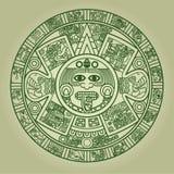 stylized aztec kalender royaltyfri illustrationer