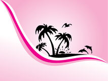 Stylized background with palm tree and wave Stock Images