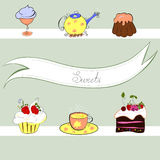 Stylized background with sweets. Stylized background with a lot of sweets Stock Photo