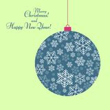 Stylized ball toy with a pattern of snowflakes Text of Happy New Year and Christmas Winter festive background for greeting card vector illustration