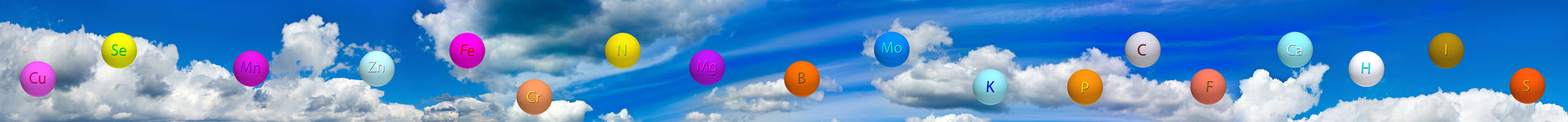 Stylized balls with vitamins against the sky close up Royalty Free Stock Photography