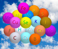 Stylized balls with vitamins against the sky Royalty Free Stock Photography