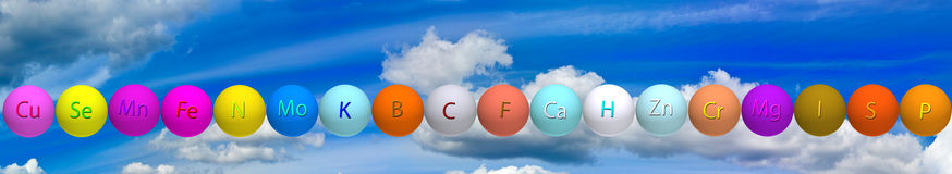 Stylized balls with vitamins against the sky Stock Image