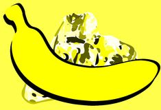 Stylized banana on colorful background Royalty Free Stock Photo