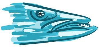 Stylized barracuda head isolated Stock Image