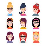 Stylized beautiful young girls and women. Avatars in cartoon flat style. Female characters. Vector illustration Stock Image