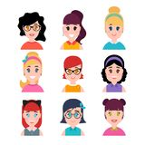 Stylized beautiful young girls and women. Cute female characters. Avatars in cartoon flat style. Vector illustration Royalty Free Stock Photos