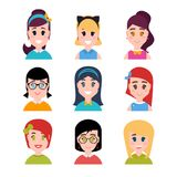 Stylized beautiful young girls and women. Female characters. Avatars in cartoon flat style. Vector illustration Royalty Free Stock Photo