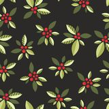 Stylized berries on a black background. Seamless pattern with vegetative elements and berries for design Royalty Free Stock Image