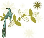 Stylized bird on branch Royalty Free Stock Image
