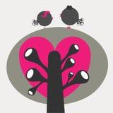 Stylized bird couple on tree Royalty Free Stock Image